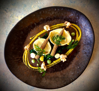 Smoked haddock, baby spinach &  parmesan tortellini, textures of sweetcorn