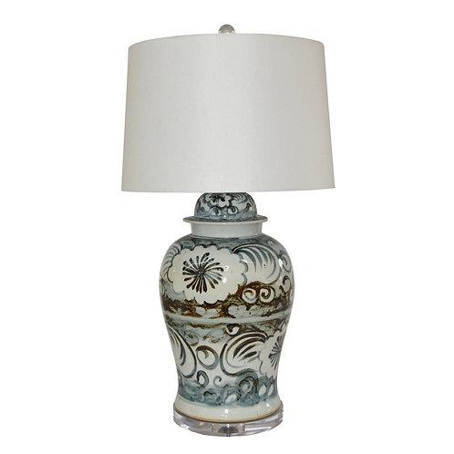 Blue And White Sea Flower Porcelain Temple Jar Lamp