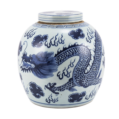 Blue And White Ming Jar Dragon Large