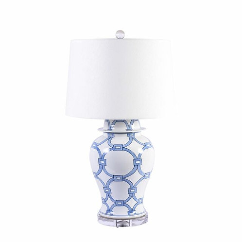 Blue and White Lover Locks Table Lamp