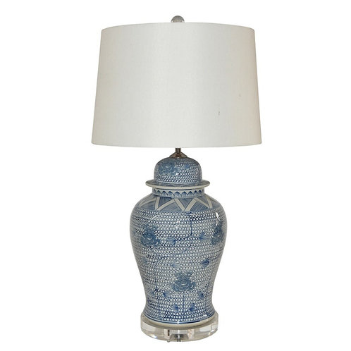 Blue And White Porcelain Chain Temple Jar Lamp