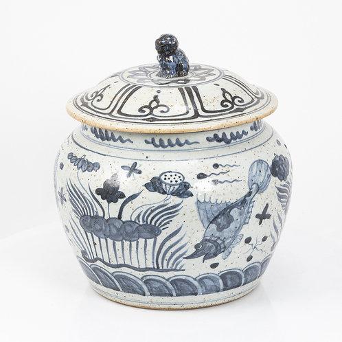 Blue And White Fish Lotus Rice Jar