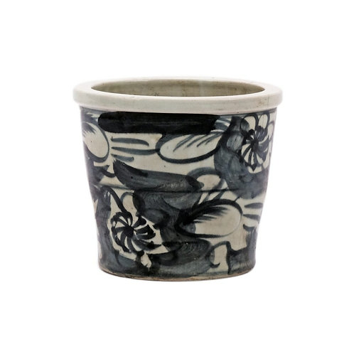 Black SIlla Orchild Pot Twisted Flower