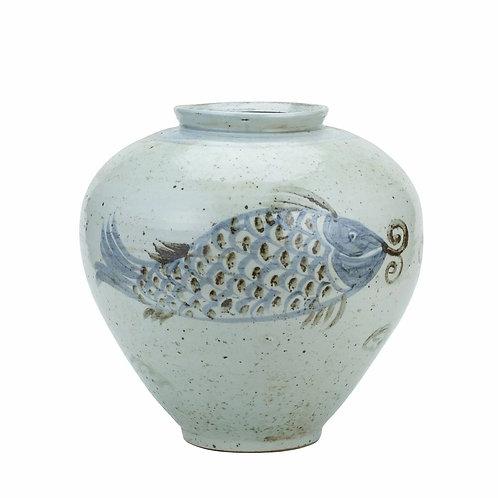 Blue And White Porcelain Silla Koi Fish Jar