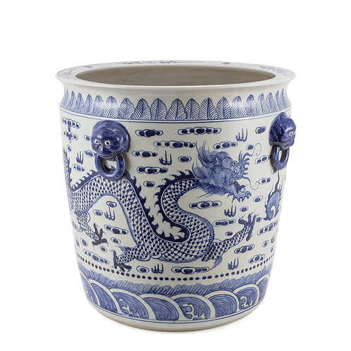 Blue And White Porcelain Dragon Planter With Lion Handle