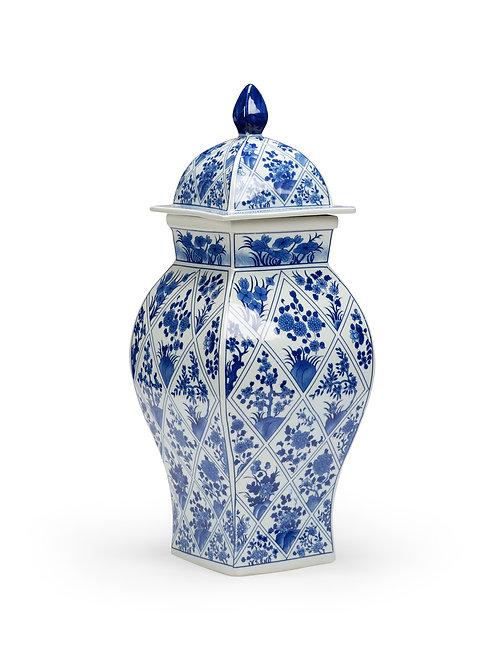 Blue And White Covered Vase