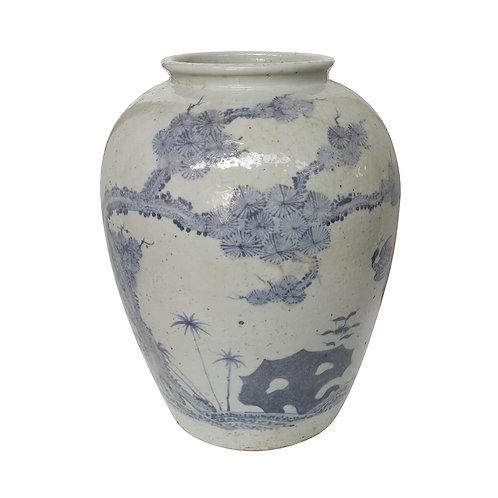 Blue And Whtie Open Top Jar With Pine Deer Motif