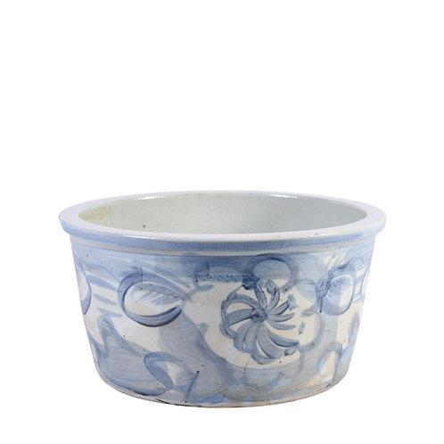 Blue And White Porcelain Basin Planter Twisted Flower Motif