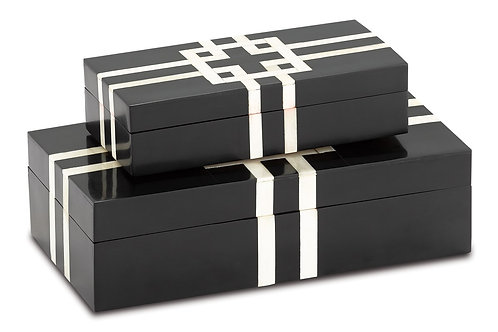 Black and White Lines Boxes Set of 2
