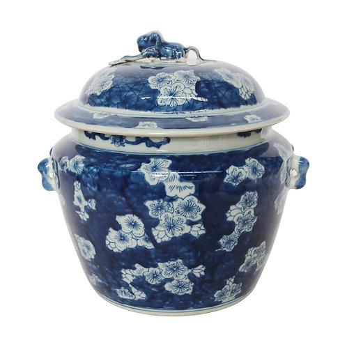 Blue And White Porcelain Plum Petal Medallion Rice Jar