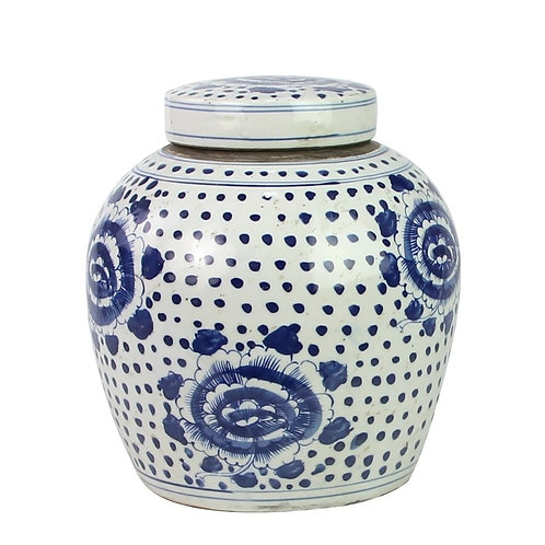 Blue And White Ming Jar Peony Dots