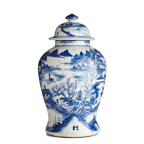 Blue And White Porcelain Temple Jar Mountain Village Scene