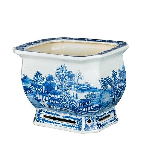Blue And White Porcelain Landscape Foot Bath Planter