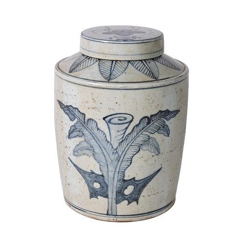 Blue And White Palm Leaf Tea Jar