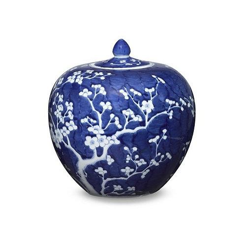 Blue & White Plum Melon Jar
