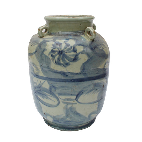 Blue And White Four Loop Handle Jar Twisted Flower Motif