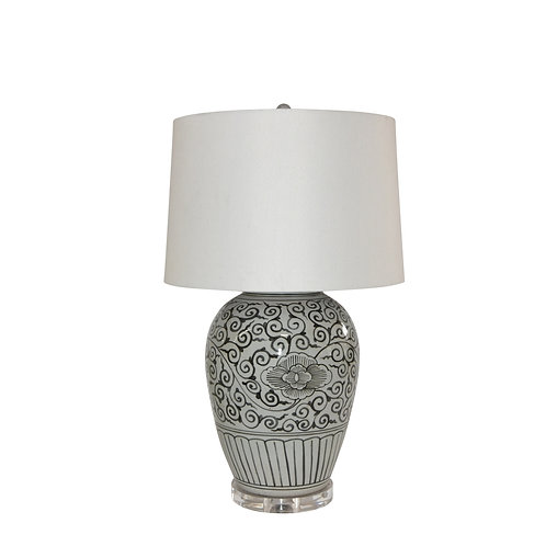 Black Peony Open Top Porcelain Urn Lamp