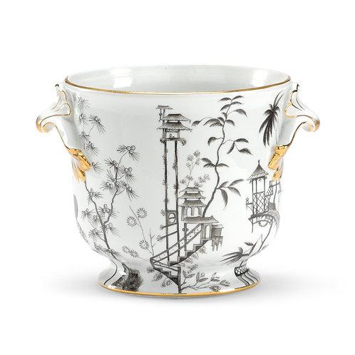 Black/White Chinoiserie Vase