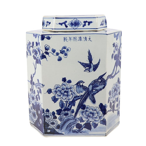 Blue And White Flat Hex Bird Floral Jar