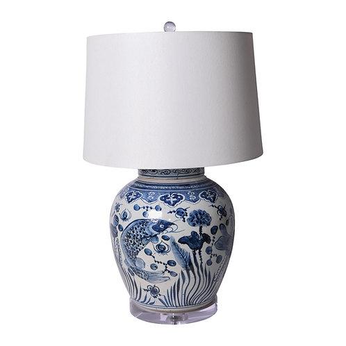 Blue & White Ancestor Lidded Jar Fish Lamp