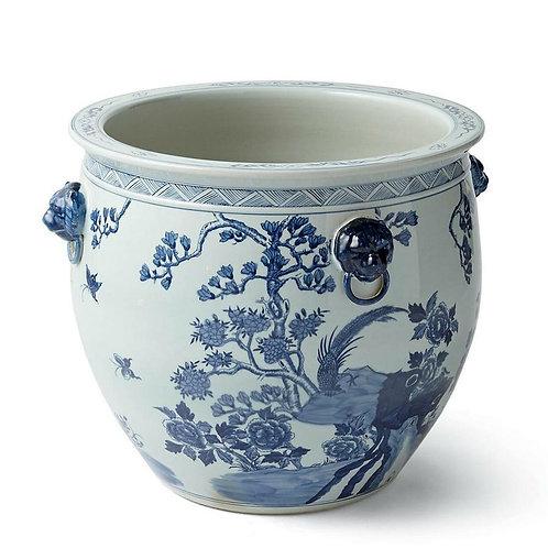 Blue And White Porcelain Magnolia Pheasant Planter Lion Handle Large