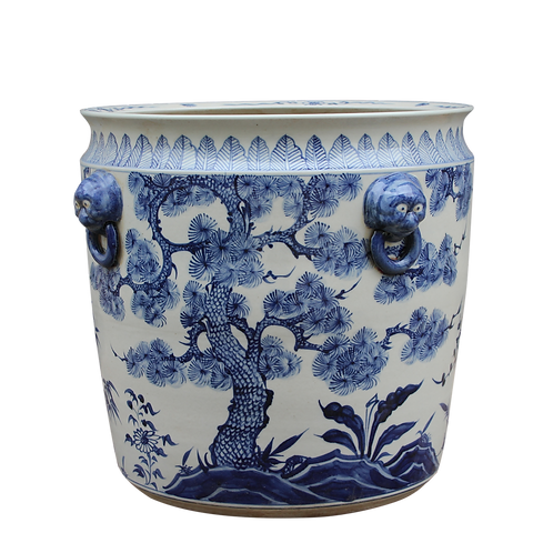 Blue And White Porcelain Pine Plum Bamboo Planter With Lion Handle