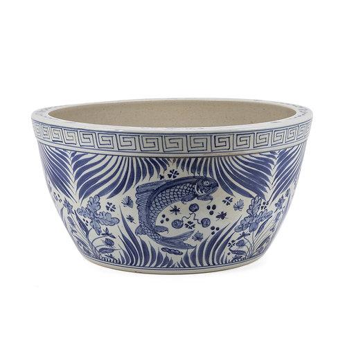 Blue And White Fish Lotus Bowl With Greek Key Trim
