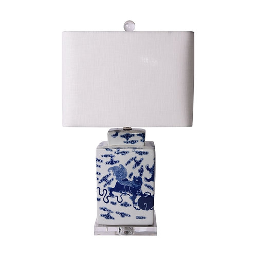 Blue & White Porcelain Foo Dog Square Tea Jar Lamp