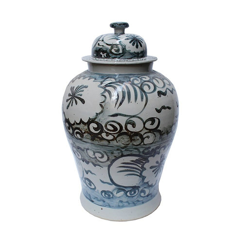 Blue And White Sea Flower Temple Jar