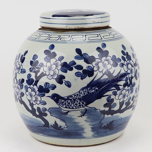 Blue And White Ming Jar Long-tailed Bird Large