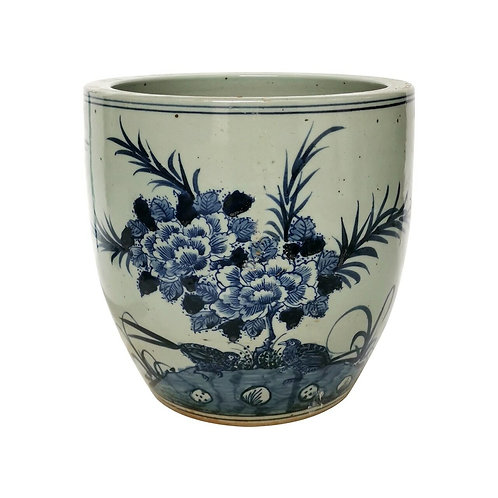 Blue And White Porcelain Planter Peony With Bird Motif