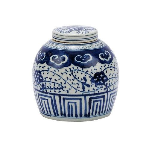 Blue And White Ming Jar Climbing Vine Motif