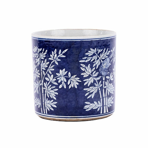 Blue And White Porcelain Bamboo Orchid Pot Large
