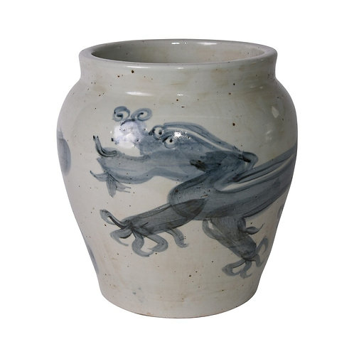 Blue And White Yuan Dragon Open Top Jar