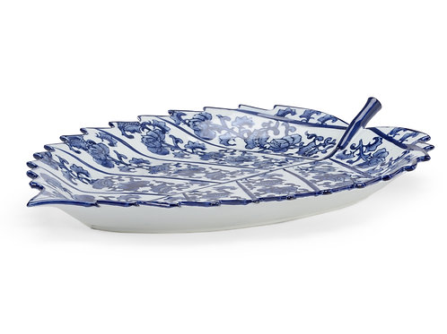 Blue And White Leaf Tray