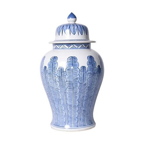Blue And White Porcelain Temple Jar Banana Leaf Motif