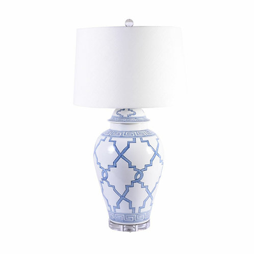 Blue & White Porcelain Greek Key Grids Lamp
