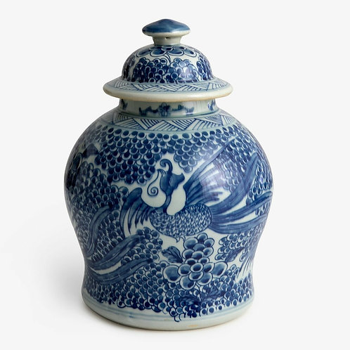 Blue And White Phoenix Temple Jar