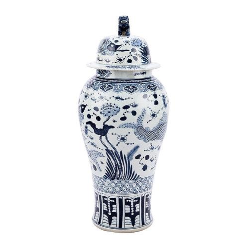 Blue & White Fish Porcelain Temple Jar Lion Lid - XL