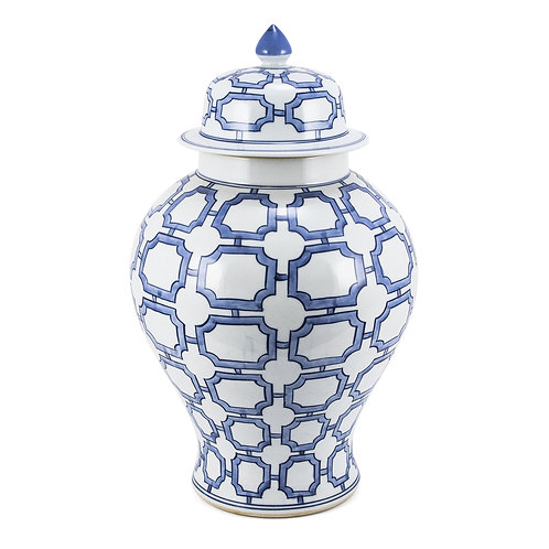 Blue And White Octagonal Window Temple Jar