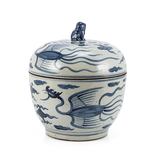 Blue And White Phoenix Lidded Jar