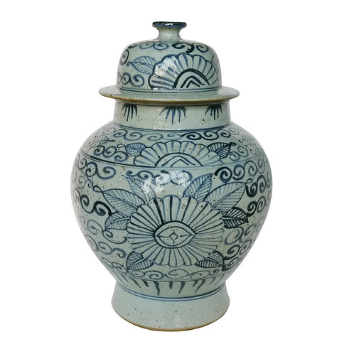 Blue And White Sunflower Temple Jar