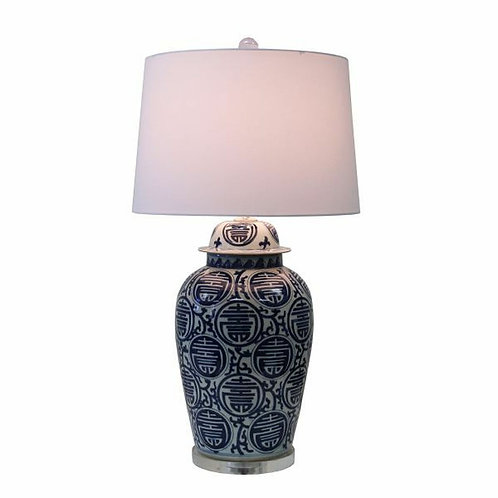 Blue and White Longevity Table Lamp