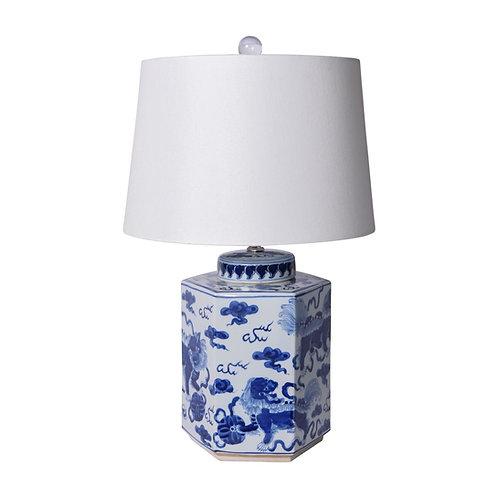 Blue & White Porcelain Lion Hexagonal Tea Jar Lamp