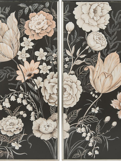 Black Floral Panels S/2