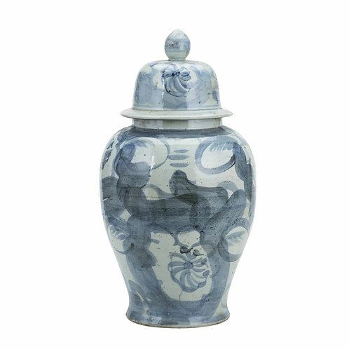 Blue And White Porcelain Silla Flower Temple Jar