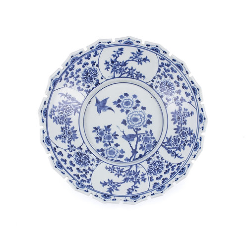 Blue And White Jagged Rim Peony Bowl