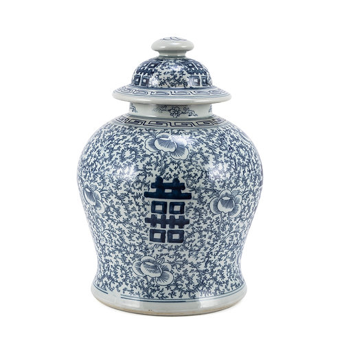 Blue and White Double Happiness Floral Temple Jar Small