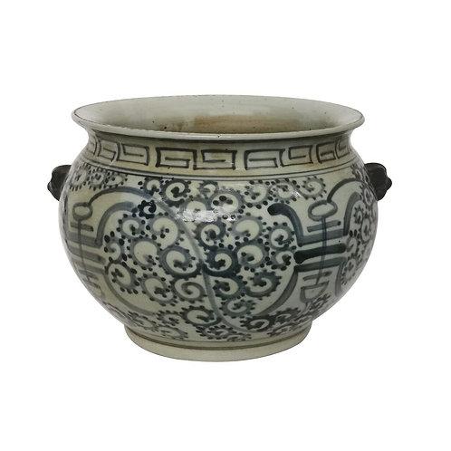 Blue And White Porcelain Curly Vine Longevity Bowl Planter
