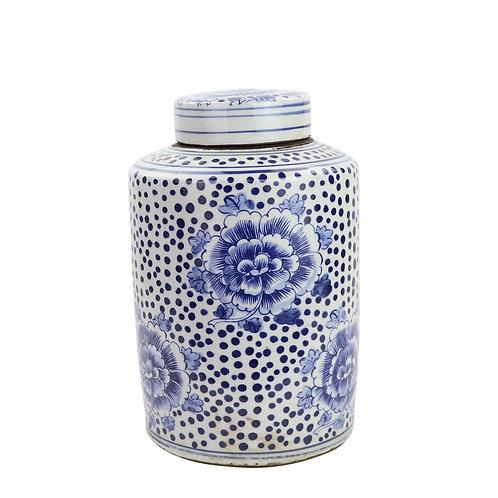 Blue And White Mini Tea Jar Peony Dots Large